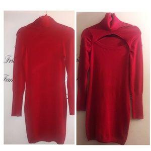 Planet Gold red turtleneck bodycon dress L